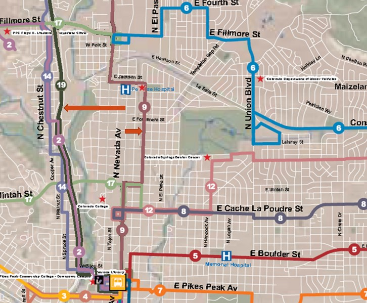The ONEN Transit Committee Proposed moving a local service down Wahsatch Avenue and moving express core service down I-25.